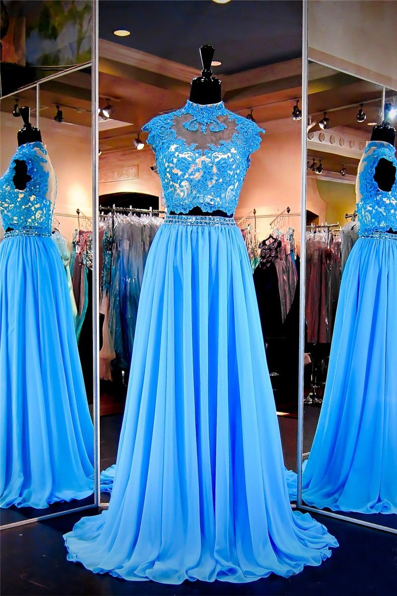 Fabulous High Neck Cap Sleeve Two Piece Long Blue Lace Chiffon Prom ...