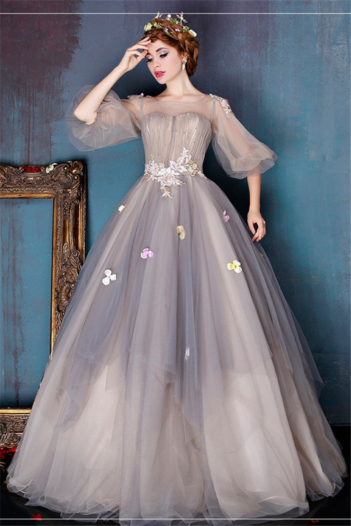 Fairy ball gown illusion neckline light brown tulle prom for Fairytale ball gown wedding dresses