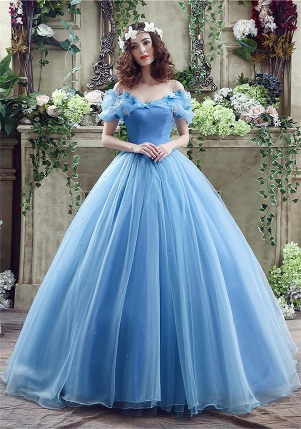 Fairy ball gown off the shoulder blue organza wedding prom for Fairytale ball gown wedding dresses