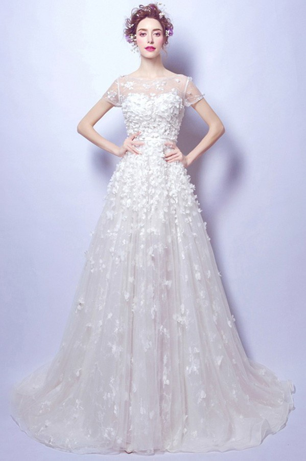 Fairy Princess A Line Tulle Petal Wedding Dress With Short Sleeves