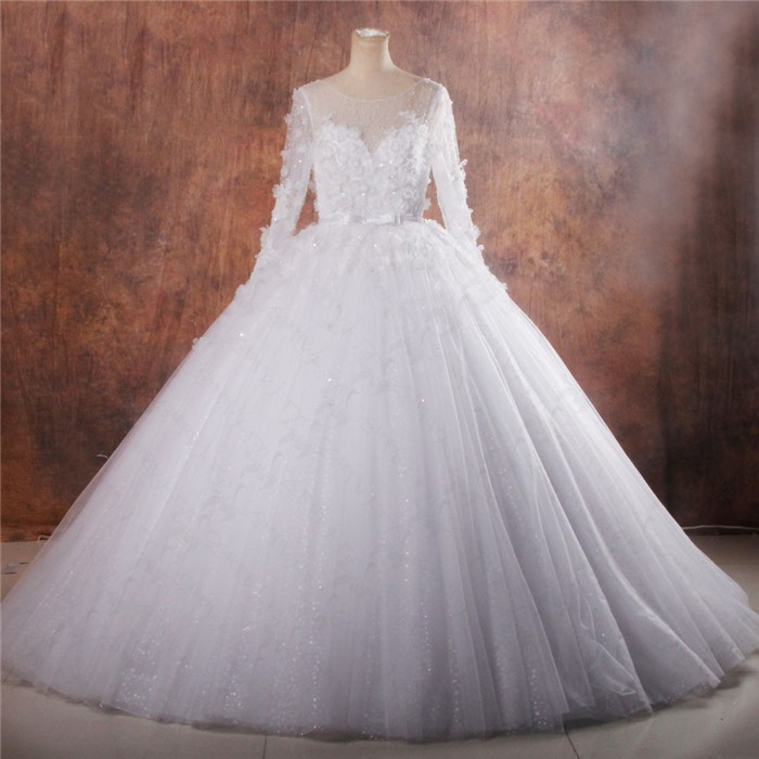 Fairy tale ball gown illusion neckline long sleeve puffy for Fairytale ball gown wedding dresses