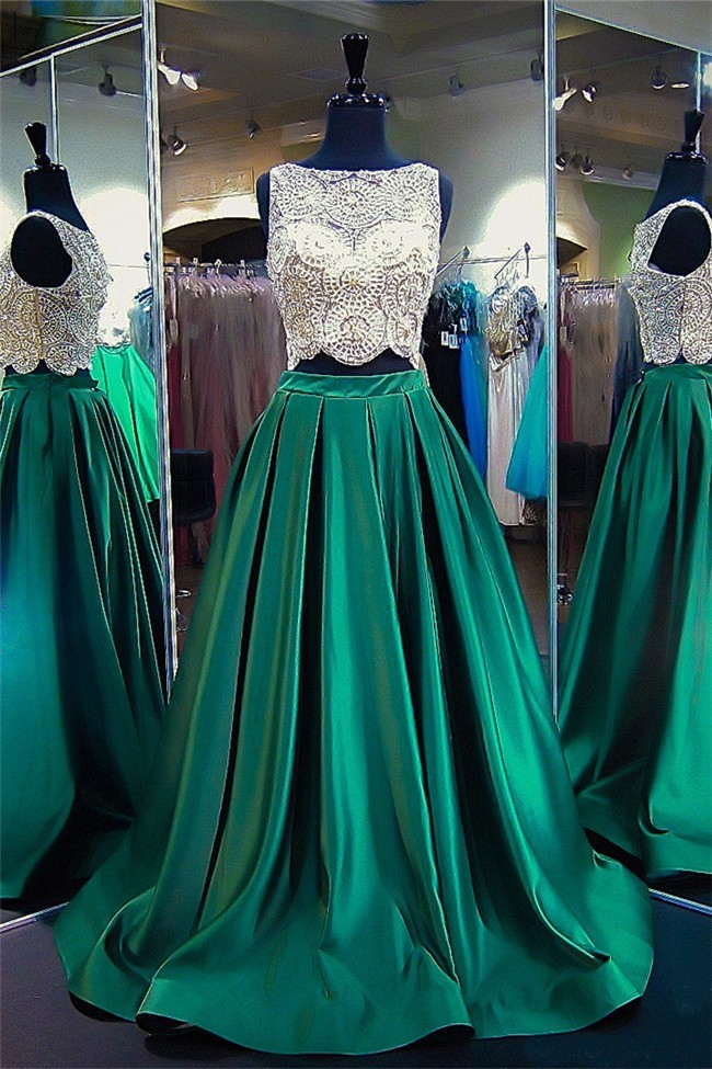 fca4a5f9493 Fantastic A Line High Neck Two Piece Emerald Green Satin Beaded Prom Dress