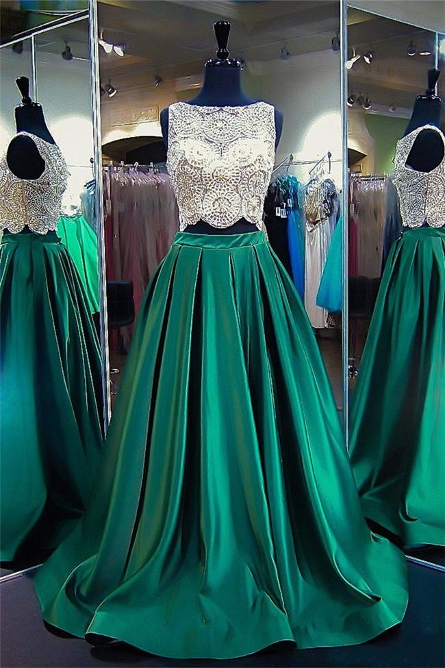 Emerald Satin Dresses