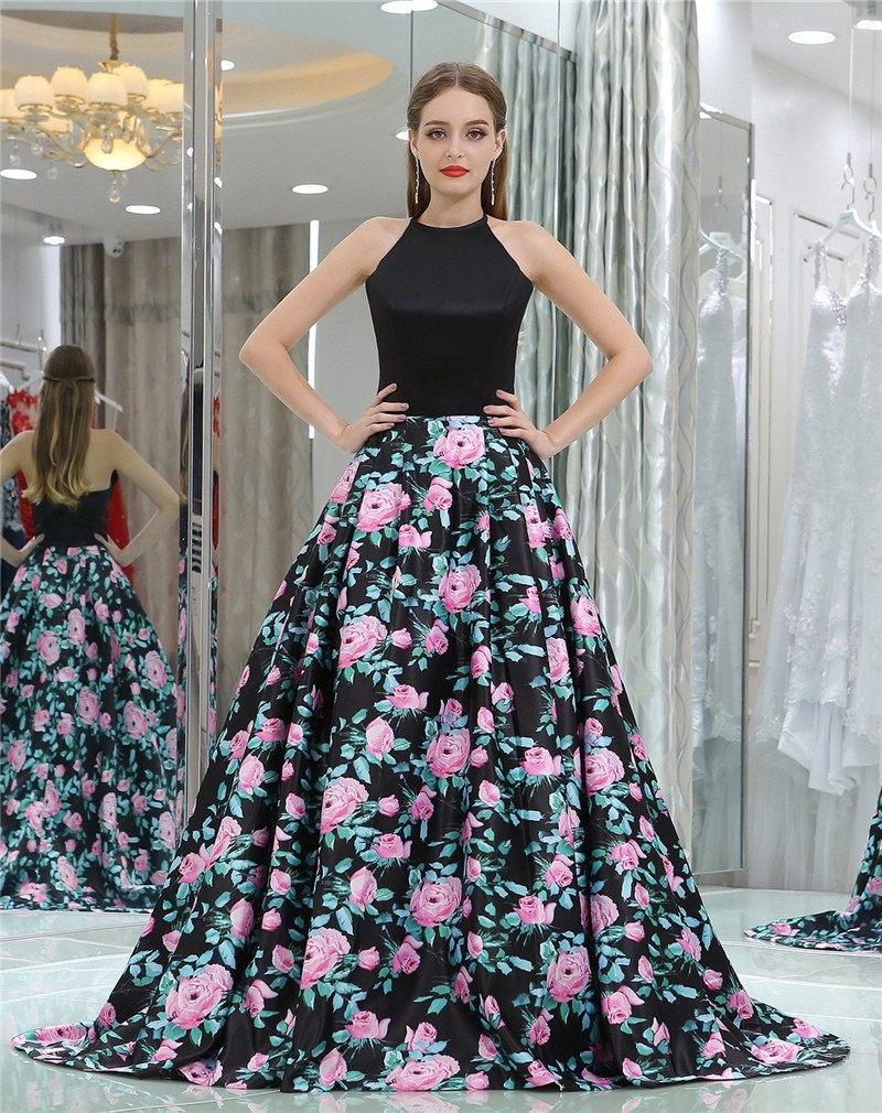3454c26f Fantastic Ball Gown Halter Black Satin Floral Printed Occasion Prom Dress