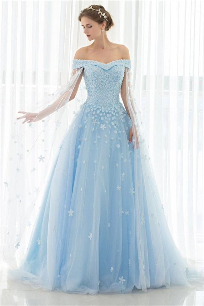 Fantastic Ball Gown Off The Shoulder Light Blue Tulle Floral Beaded