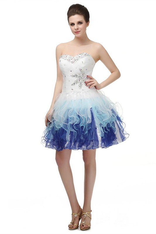 Fantastic Ball Strapless White Blue Ombre Ruffle Short Homecoming ...