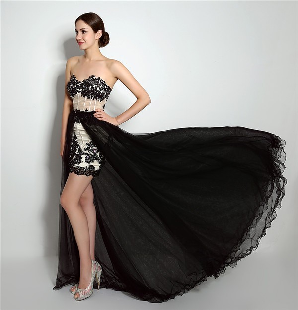 Fantastic High Low Corset Back Black Tulle Lace Prom Dress ...