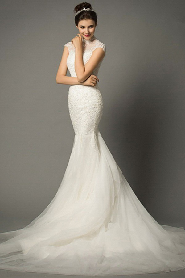 Fantastic Mermaid High Neck Collar Cap Sleeve Tulle Lace Wedding Dress
