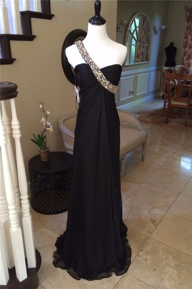 Fantastic One Shoulder Empire Waist Long Black Chiffon Beaded Prom Dress