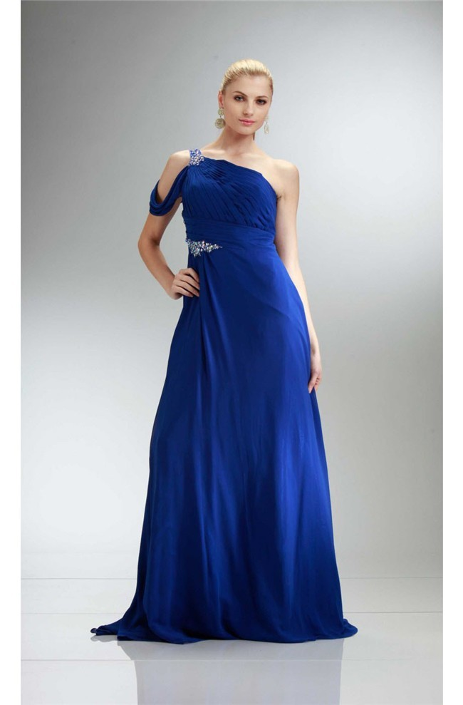 Fantastic One Shoulder Long Royal Blue Chiffon Beaded Prom Dress