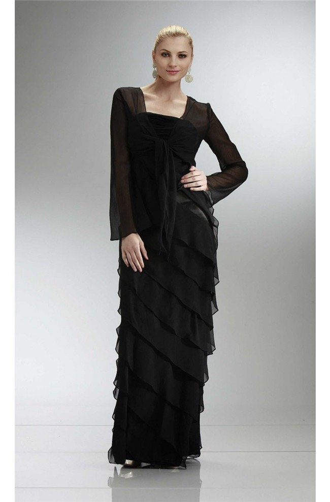 Fantastic Sheath Long Black Chiffon Ruffle Tiered Evening Dress With
