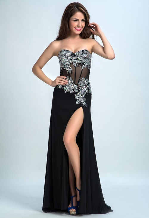 ddcc05b581d Fantastic Sweetheart See Through High Slit Black Chiffon Tulle Beaded Prom  Dress
