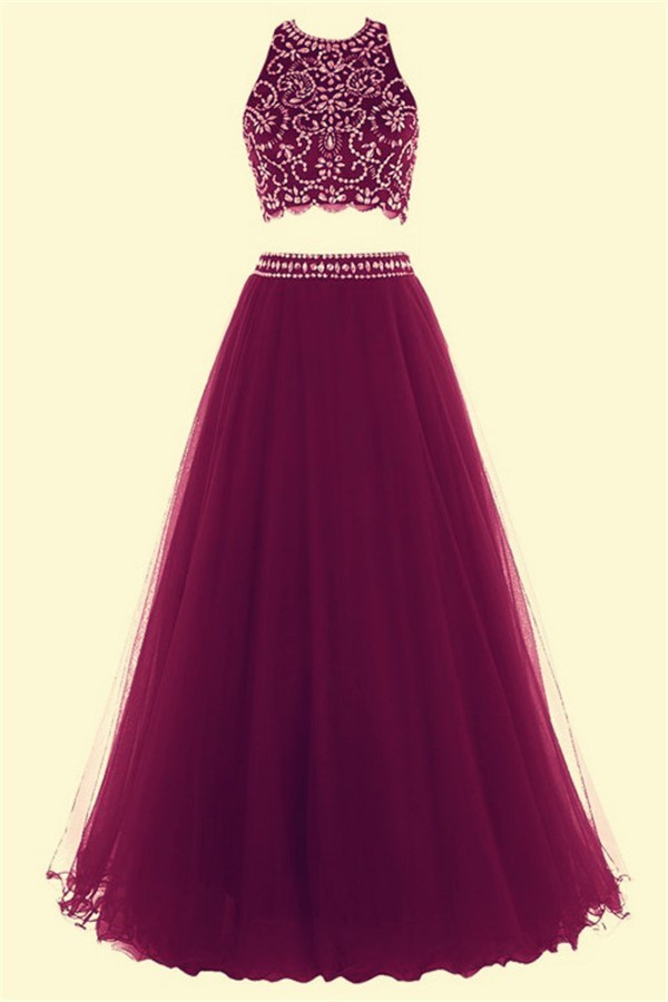 f8c8b67cd07c Fashion A Line Halter Long Burgundy Tulle Beaded Two Piece Prom Dress