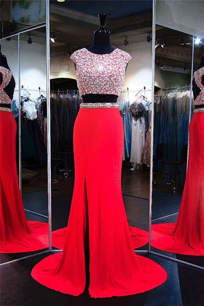 Fashion Cap Sleeve Open Back Red Jersey Beaded Two Piece Prom Dress f666745c9