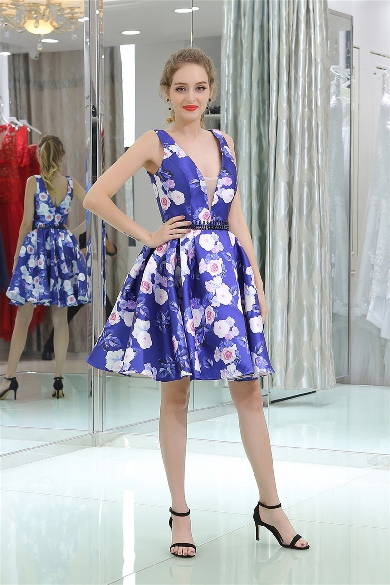 bbcee7fcaf Fashion Deep V Neck Short Floral Printed Party Prom Dress