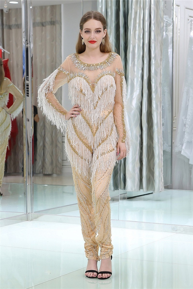28cd937baa22 Fashion Scoop Neck Long Sleeve Champagne Tulle Beaded Tassel Prom Jumpsuit