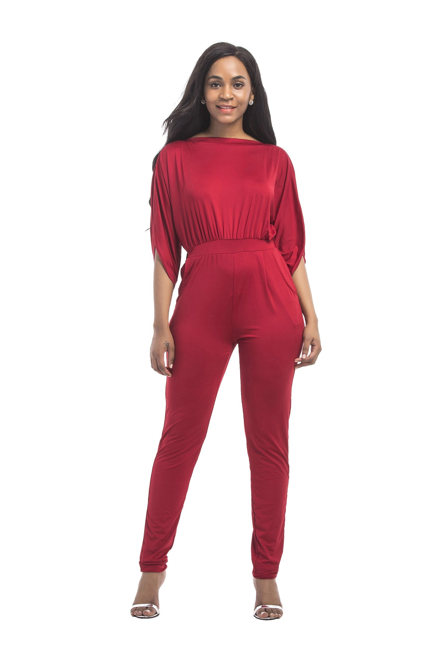 d4cbcc2fa32c Fashion Spring Fall Red Jersey Casual Women Jumpsuit With Sleeves
