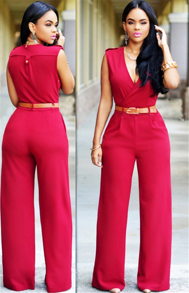 e12b8c11c66c Fashion V Neck Sleeveless Long Casual Rompers And Jumpsuit With Belt