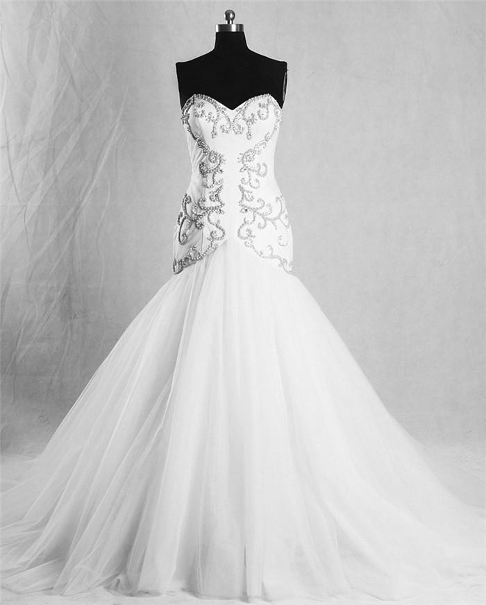 Fit And Flare Sweetheart Tulle Satin Beaded Pearl Wedding Dress ...