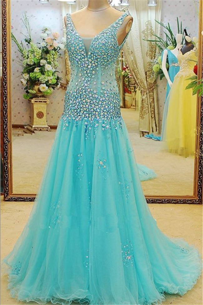 Fitted A Line V Neck Sleeveless Aqua Tulle Rhinestone Beaded Prom Dress