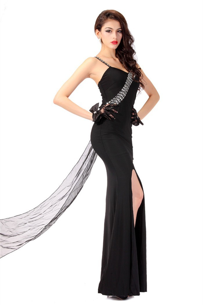 Fitted High Slit Floral Strap Long Black Jersey Beaded Evening Prom