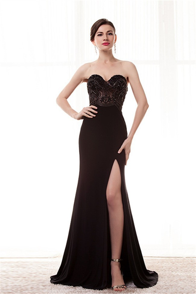 Fitted Sweetheart High Slit Long Black Jersey Beaded Special