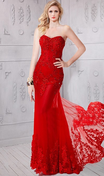 fitted trumpet prom dress