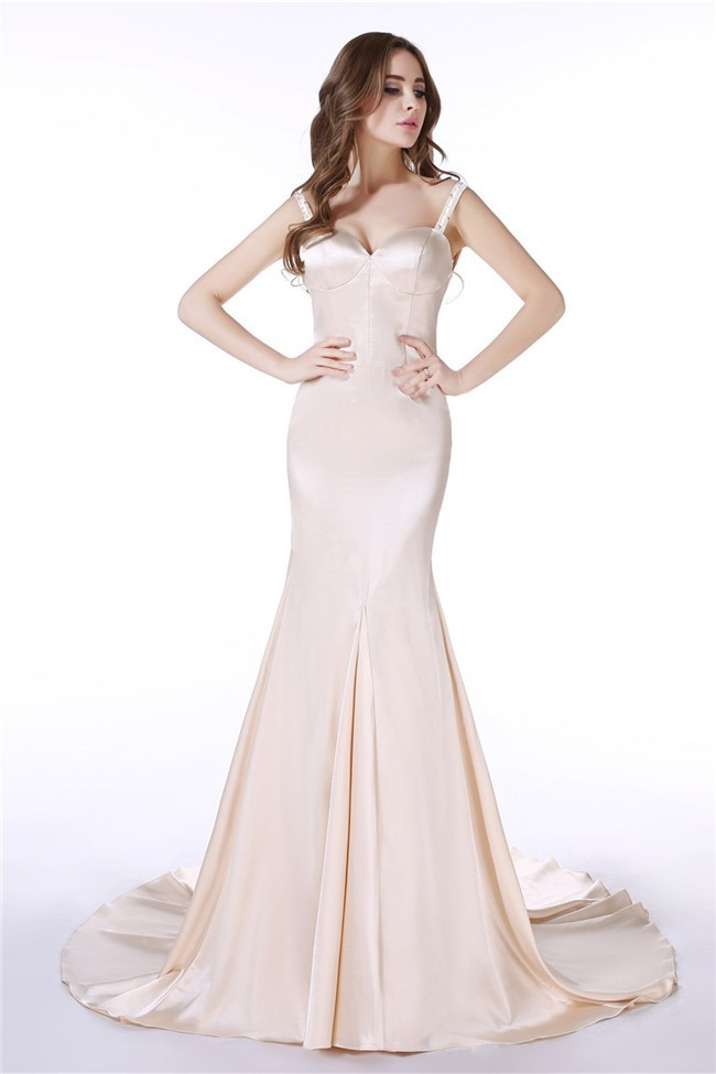 Fitted Trumpet Sweetheart Open Back Silk Satin Wedding Dress With ...