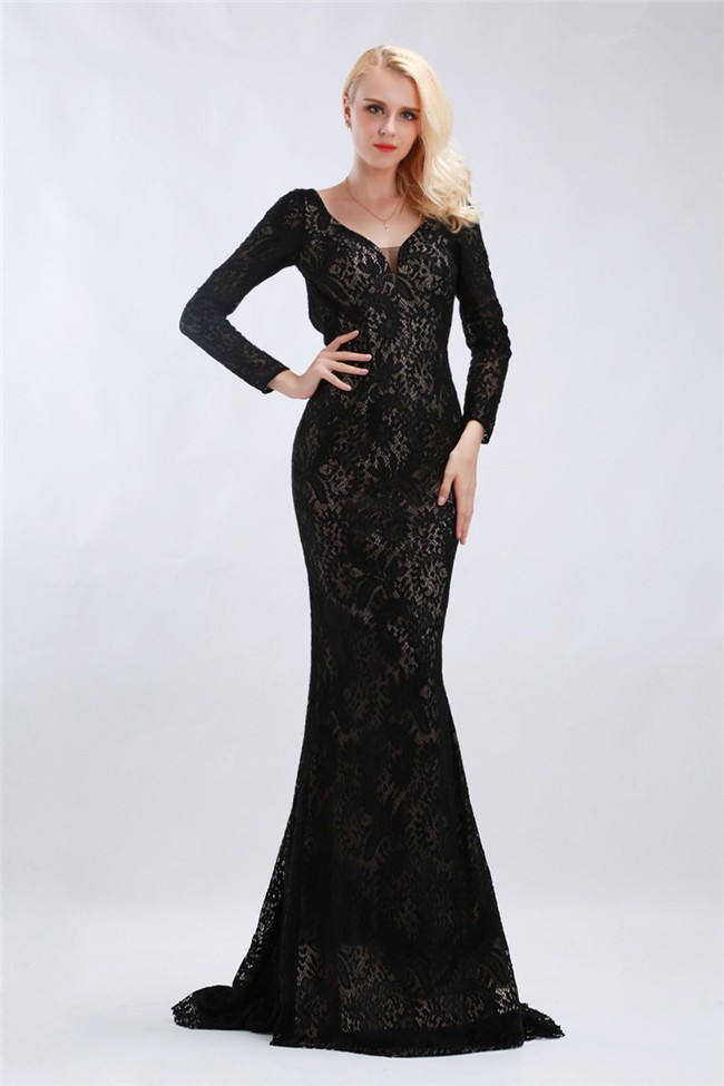 Fitted V Neck Open Back Long Sleeve Black Lace Formal Occasion