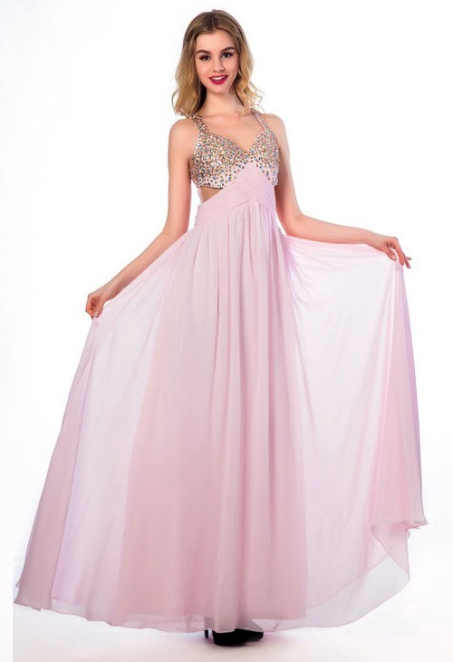 Flowing A Line Cut Out Open Back Long Light Pink Chiffon Beaded Prom ...