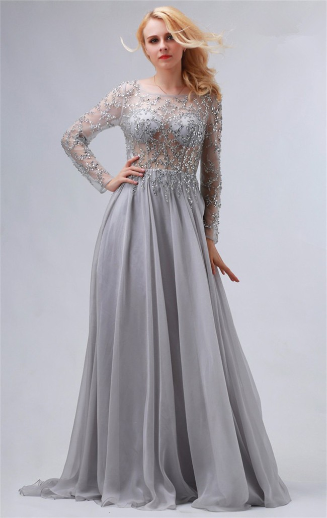 Flowing Bateau Backless Long Sleeve Silver Chiffon Tulle Beaded Prom ...