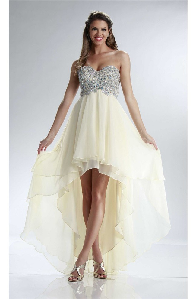 Flowing High Low Empire Waist Light Yellow Chiffon Rhinestone Prom Dress