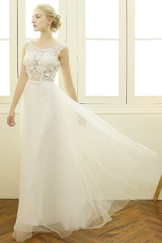 bde1e659e1d Flowing Scoop Neck Cap Sleeve Tulle Lace See Through Wedding Dress