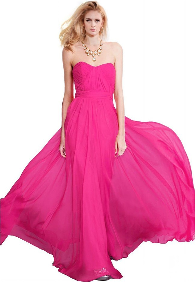 Flowing Strapless Long Hot Pink Chiffon Bridesmaid Prom Dress