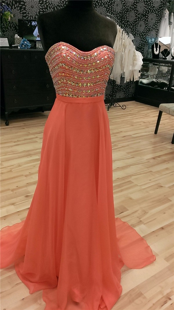 Flowing Strapless Low Back Long Coral Silk Chiffon Beaded