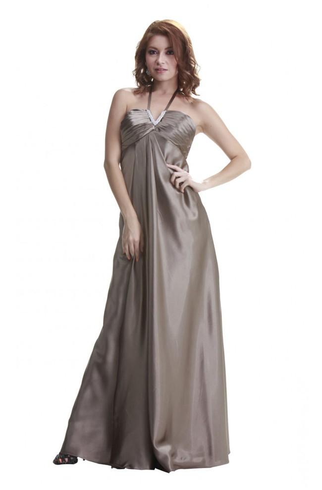 Formal Halter Empire Waist Long Light Brown Silk Evening Prom Dress