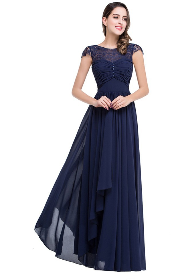 Formal Sheath Cap Sleeve Navy Blue Chiffon Evening Dress