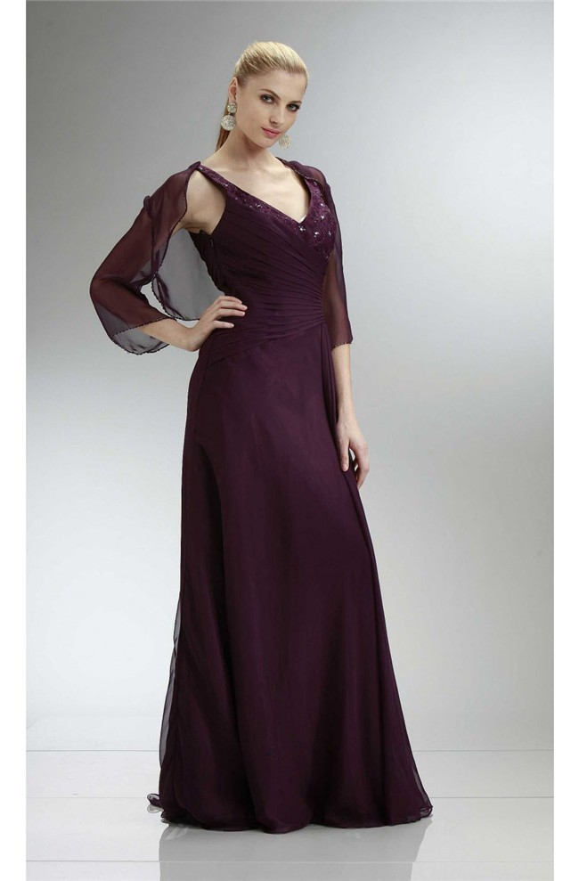 Formal V Neck Long Grape Chiffon Mother Evening Dress With Bolero Jacket