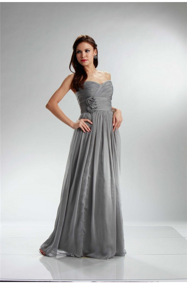 Glamour Empire Waist Long Silver Chiffon Ruched Bridesmaid Dress