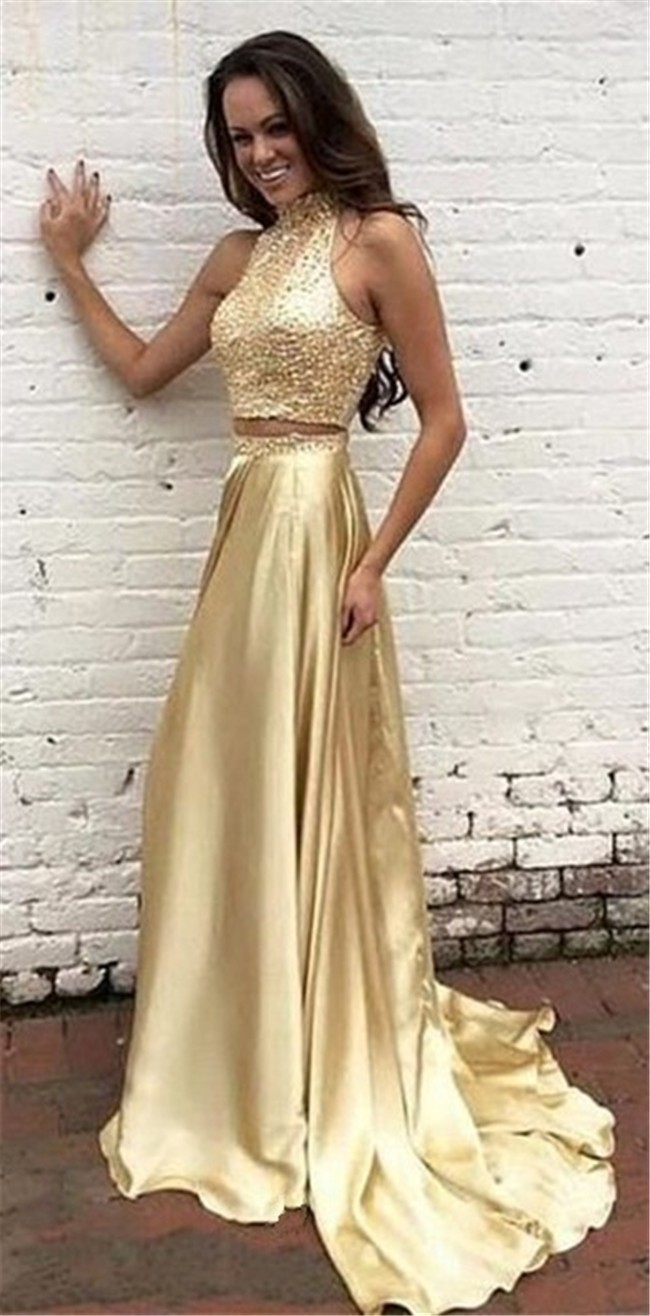 Glitter Two Piece Halter Keyhole Back Gold Satin Beaded Prom Dress