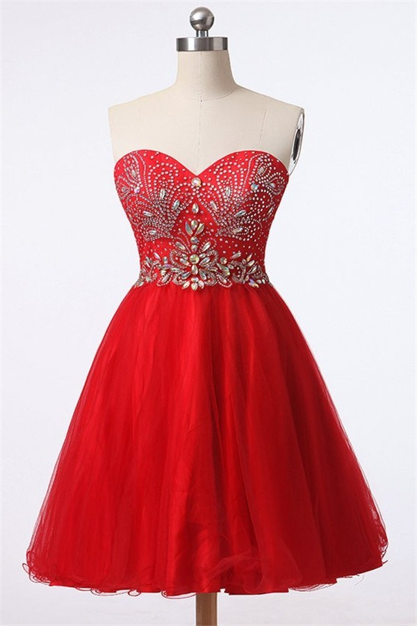 fe93d4460fb06 Gorgeous A Line Sweetheart Short Red Tulle Beaded Prom Dress