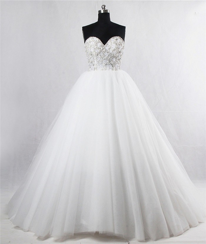 Gorgeous Ball Gown Sweetheart Corset Back Tulle Beaded Crystal ...