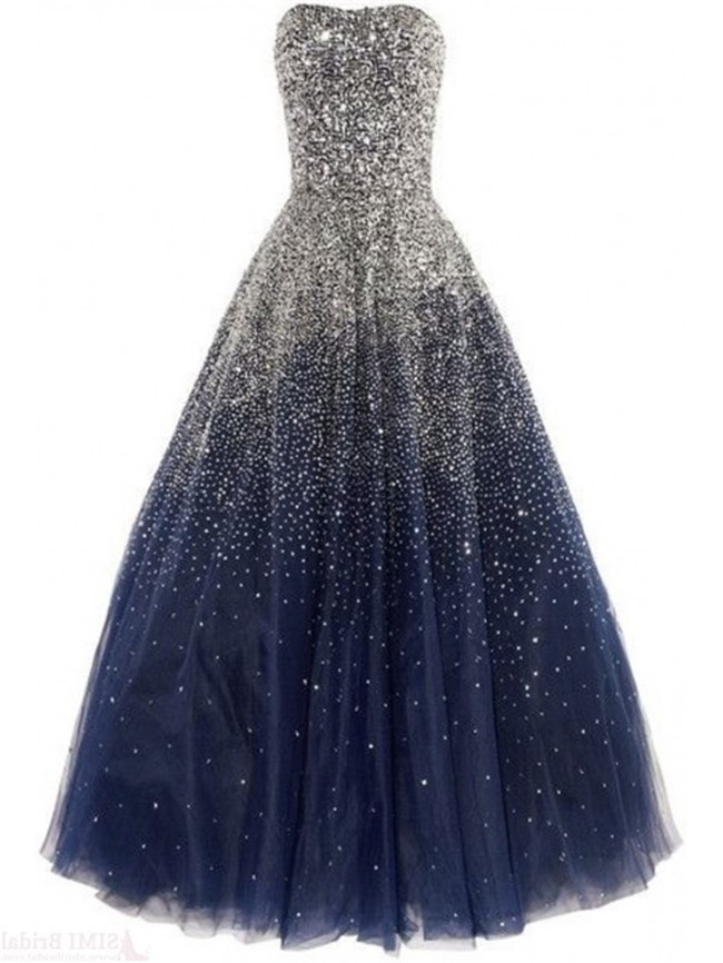 Gorgeous Ball Strapless Navy Blue Tulle Beaded Sparkly ...
