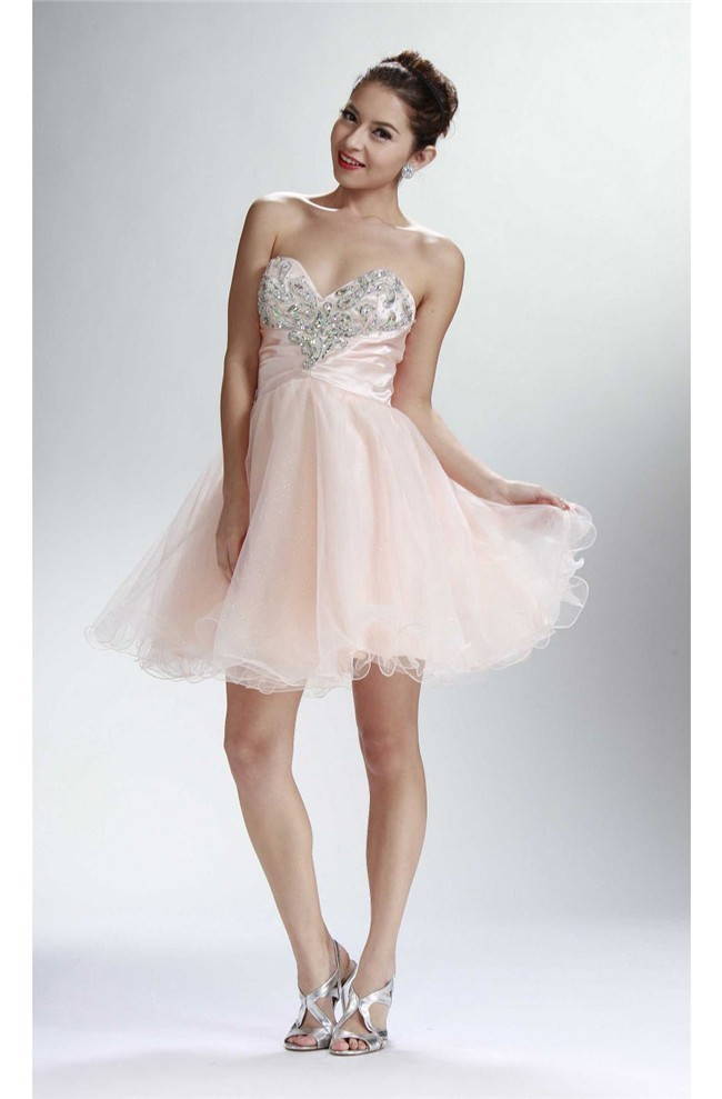 acc0d2707e3 Gorgeous Ball Strapless Short Blush Pink Tulle Beaded Cocktail Prom Dress