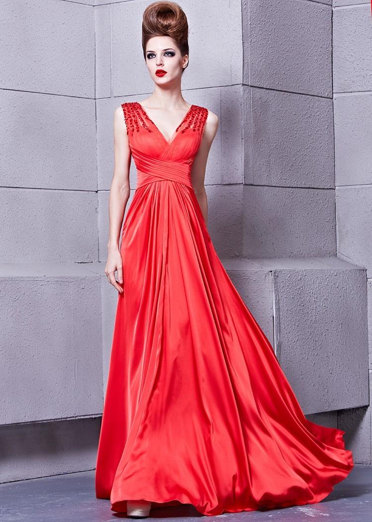 MACloth Sexy Deep V Neck Satin Long Prom Homecoming Dress