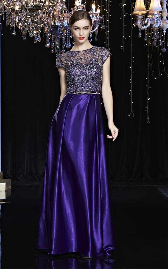 Gorgeous High Neck Cap Sleeve Regency Purple Satin Lace Evening ...
