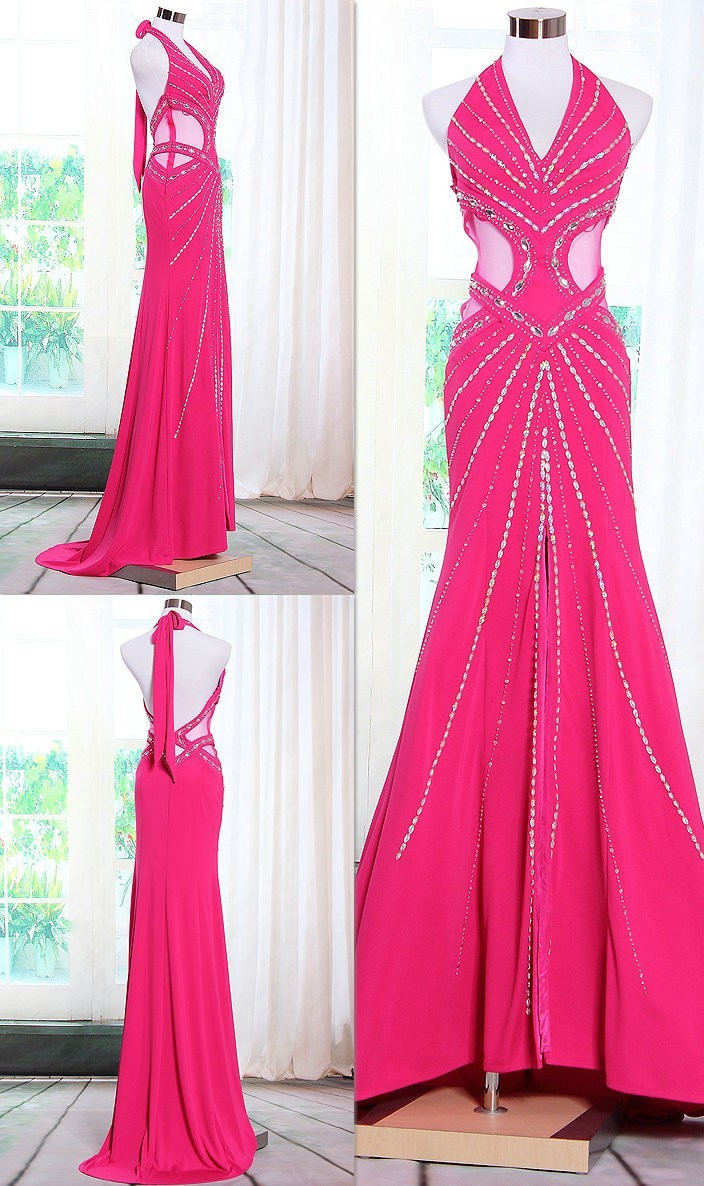 Gorgeous Mermaid Halter Side Cut Outs Hot Pink Chiffon Beaded ...