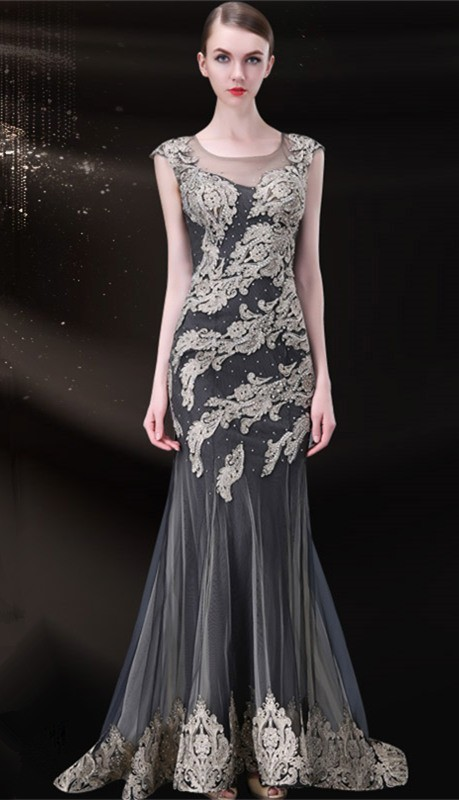 Gorgeous Mermaid Illusion Neckline Charcoal Grey Tulle Gold Lace ...