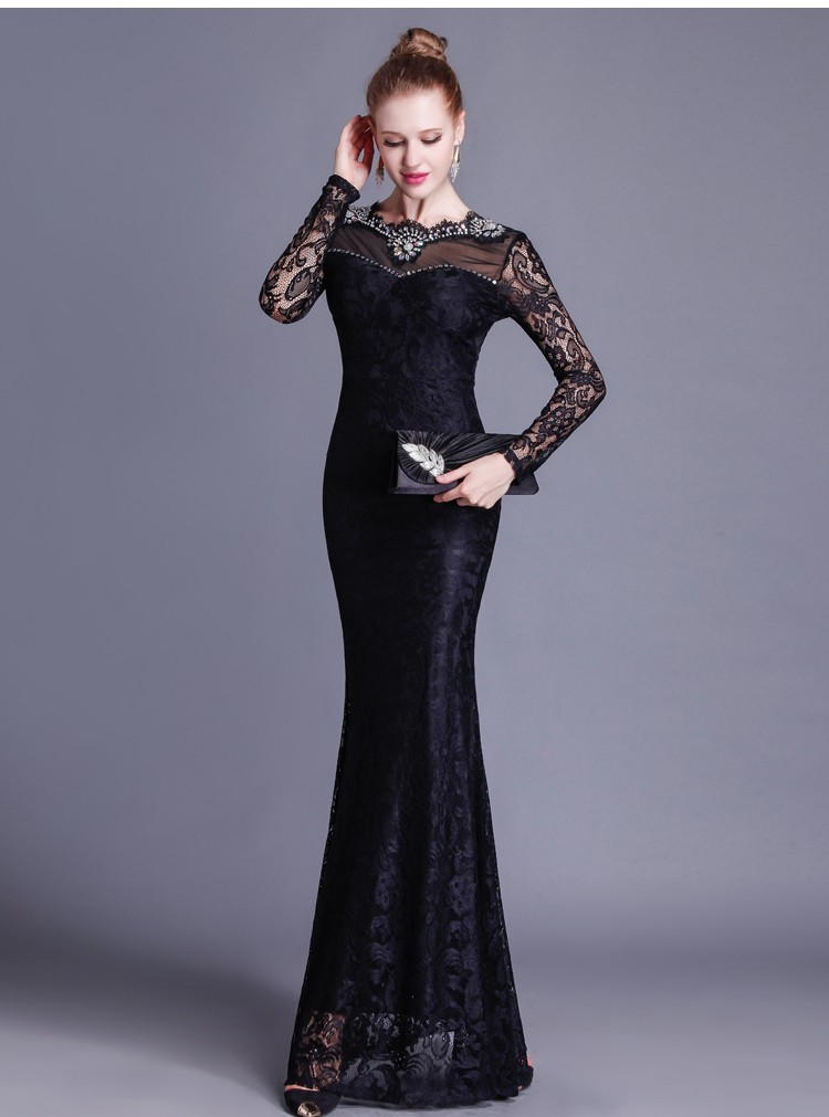Gorgeous Mermaid Open Back Long Sleeve Black Lace Beaded Special ...
