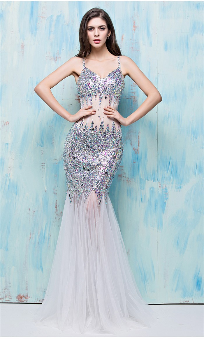 Gorgeous Mermaid See Through White Tulle Colorful Beaded Prom Dress ...